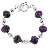 Faceted Amethyst & Silver-Plated Bead Bracelet