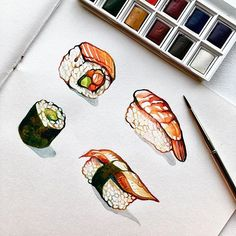 Sushi watercolor painting - Yelselogy