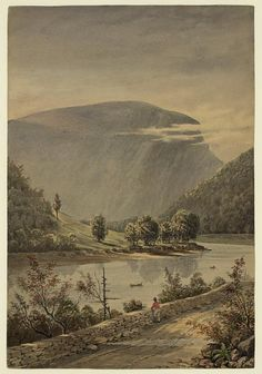 Delaware Water Gap ~  Title: Delaware Water Gap / from nature by J. Queen. Creator(s): Queen, James Fuller, 1820 or 1821-1886, artist Related Names:    Marian S. Carson Collection (Library of Congress) Date Created/Published: 1856. Medium: 1 drawing : watercolor.