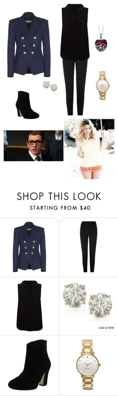 """Kingsman: Secret Service-Cassie #1"" by reyna27937 ❤ liked on Polyvore featuring Balmain, Damsel in a Dress, Yumi, Auriya, Chelsea Crew and Kate Spade"