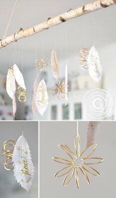 DIY | Mobilee mit beletterten Blättern und goldenen Blümchen