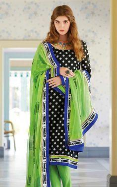 BLACK & GREEN BHAGALPURI SILK SALWAR KAMEEZ - DIF 29103