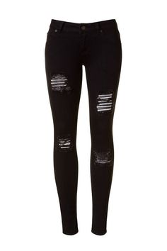 Destroyed detailing skinny pants Width : 12.55'' Full length : 36.5'' Leg length : 27'' 75% Cotton 20% Polyester 5% Spandex *We recommend sizing up in these for a better fit.