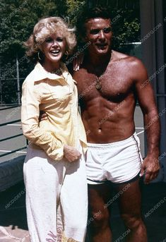 handsome & shirtless Robert Conrad candid w Connie Stevens 35m-10052
