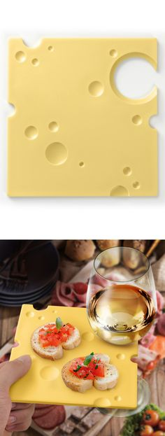 Fun cheese plate with wine holder