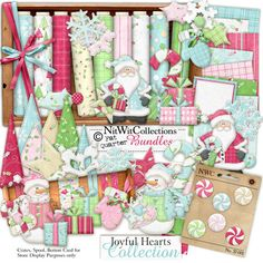 Digital scrapbooking cute Christmas and card making cute Christmas kit in pink and blue. FQB - Joyful Hearts Collection