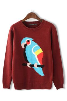 Parrot Printing Pullover Sweater