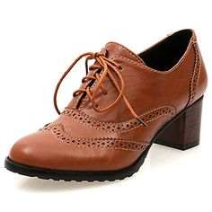DoraTasia Womens Block Heel Lace up Oxfords Dress Brogues Heels Single Shoes