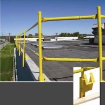"AES RaptorRail System:   The AES Raptor brand RaptorRail is a widely used temporary railing system. Each horizontal rail quickly attaches to posts via simple pins. You do not need to purchase and cut lumber every time, so you save on labor and material costs for every job. You will be amazed at how fast the RaptorRail system can be installed. The popular bases include the ""RB-01"" base which swivels up so you can work on the edge without breaking down the railing, and the CB2 (Contractor #2) base which mounts on any roof edge. Both bases accept the parapet clamp option."