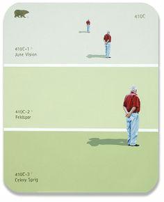 410C - Three Identical Men - paint chip art by Shawn Huckins