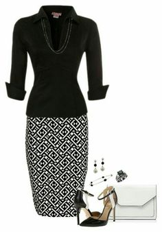 Office Wear - 140 A fashion look from December 2016 featuring form fitting shirts, body con skirt and oversized handbags. Browse and shop related looks. Dressy Outfits, Mode Outfits, Fashion Outfits, Womens Fashion, Fashion Tips, Fashion Trends, Office Outfits, Ladies Fashion, Fashion Ideas
