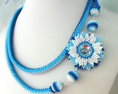 Beaded necklace for woman Flower necklace handmade Gift for her Blue flower necklace Gift for mom Beaded flowers Handmade flowers Beadwork Seed Bead Necklace, Seed Bead Jewelry, Women's Earrings, Beaded Jewelry, Rope Necklace, Flower Necklace, Beaded Necklace, Jewellery, Crochet Beaded Bracelets