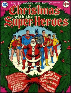 Christmas - Batman wishes you a Merry Christmas along with Santa, Superman and some scantily clad teenagers. Dc Comics, Batman Comics, Christmas Comics, Christmas Books, Vintage Christmas, Santa Christmas, Christmas Time, Vintage Comic Books, Vintage Comics