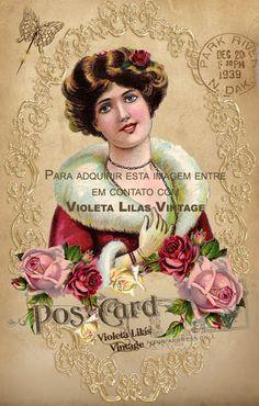 Violeta lilás Vintage: Cartão postal antigas damas