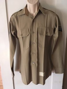 8514a2cf90b7b3 1959 Issued Air Force Khaki Long Sleeve Shirt with Senior Airman Patches  and Metal U.S. Pins