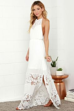 ivory lace halter maxi dress for summer