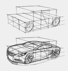 Car Design , sketching with geometry Sketch A Day, Car Sketch, Design Autos, Design Cars, Design Web, Logo Design, Design Ideas, Graphic Design, Sketching Techniques