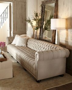 Hudson Tufted-Linen Sofa by Old Hickory Tannery at Horchow. I believ I found my living room sofa; Living Room Sofa, Living Room Furniture, Living Room Decor, Country Furniture, Garden Furniture, Living Area, Linen Sofa, Tufted Sofa, Chesterfield Sofa