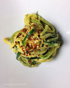 Creamy Garlic Zucchini Noodles 2 zucchini 1 clove garlic 1 T butter or alternative crushed red pepper flakes Don't sautee too long or it will be too watery