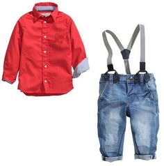 2017 children boys gentleman red t-shirt jeans party clothing set kids christmas clothing suits