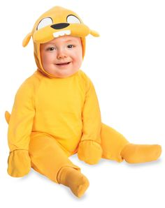 Adventure Time Jake Infant Costume exclusively at Spirit Halloween - You and your little one can venture out on Halloween and have fun when you dress them in this officially licensed Adventure Time Jake Infant Costume. Hooded romper features attached gloves and comes complete with matching socks. Make him yours for $24.99.
