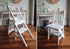 Folding Library Step Ladder Chair, Rustic Shabby Chic, Solid Mahogany Timber