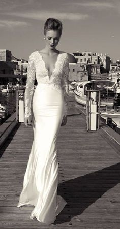 Lace low cut beautiful and elegant! robe de mariée dentelle