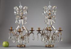 pair of glass and ormolu candelabra - - Lighting