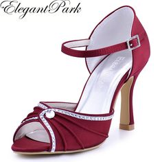 4d0be6feeb9 Woman Shoes Burgundy High Heel Buckle Rhinestones Sandals Satin Wedding  Bridal Shoes Bridesmaid Evening Prom Party Pumps EL 033-in Women s Pumps  from Shoes ...
