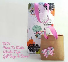 diy: how to make gift bags and washi tape paper bows
