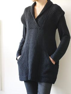 Ebony is a sleeveless tunic with pockets. It is worked in a bulky weight yarn and is a quick knit. It is worked from the bottom up in pieces. Find this pattern and more knitting inspiration for women at LoveKnitting.Com.
