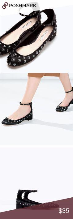 NWT ZARA Studded Flats 😍 NWT Black satin ballerina flat with an ankle strap. Round toe 😍 Euro size 40 Us size 9 Zara Shoes