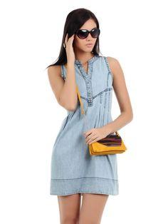 Elie Saab Short Shirt Summer Dress – Tights N skirts 1 Short Summer Dresses, Trendy Dresses, Tight Dresses, Blue Dresses, Casual Dresses, Casual Outfits, Denim Fashion, Girl Fashion, Womens Fashion
