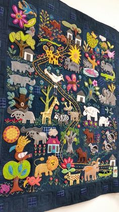 Recently I got to spend some time quilting on this lovely wool folk art quilt made by a customer. I just love it, and marveled at each an. Wool Applique Quilts, Wool Applique Patterns, Wool Quilts, Wool Embroidery, Felt Applique, Baby Quilts, Primitive Fall, Primitive Snowmen, Primitive Crafts