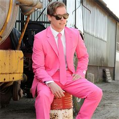 If you're in touch with your feminine side, why not show it off with this smashing pink suit?