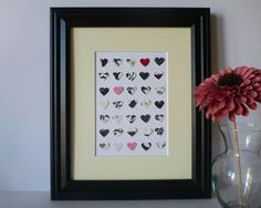 Paper Heart Wall Art - Black, White with Pops of Color, x Heart Wall Art, Paper Design, Heart Shapes, Color Pop, Art Pieces, Handmade Items, Hand Painted, Colours, Black And White