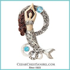 Mermaid wishes and starfish kisses.  Sterling and Ivory Mermaid Jewelry Pendant with Blue Topaz