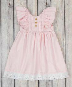 Stellybelly Pink Harper Angel-Sleeve Dress - Infant & Toddler | zulily