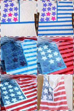 Fourth of July Shirt // spray paint // DIY Fourth Of July Shirts, 4th Of July Outfits, Fourth Of July Crafts For Kids, 4th Of July Party, July 4th, Holiday Crafts, Holiday Fun, Holiday Parties, Parties Food