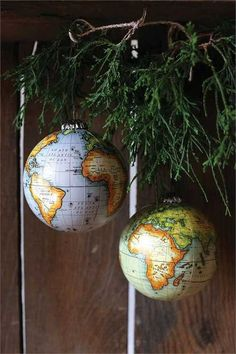 Set of 2 World Globe Ornaments 4-in