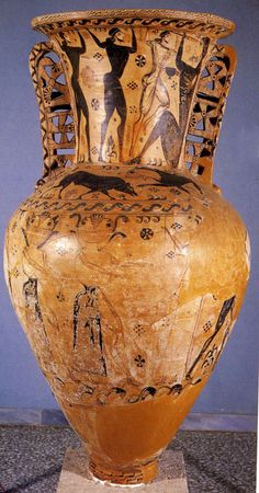 Full view of the amphora with wolves and Odysseus putting out a giant's eye in top panel. Look at those handles, which carry on the snake handles that begin with Cretan offering stands (snake tubes) and continue into the Archaic Greek period.
