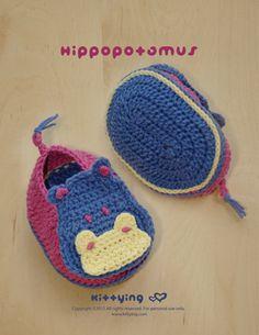 Hipopótamo Montantes do bebê Crochetar Patrão -  /  Hippopotamus Baby Booties Crocheting Standard -