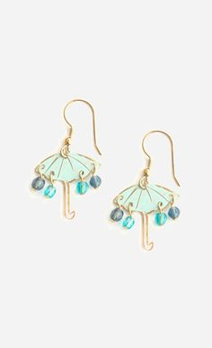 Gold & Blue Chance of Rain Drop Earrings