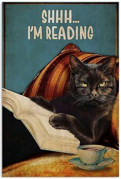 Funny Cats, Funny Animals, Cute Animals, Crazy Cat Lady, Crazy Cats, Black Cat Art, Black Cats, Cat Reading, Cat Posters