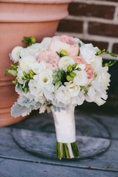 White and Pink Bouquet With Dusty Miller | photography by http://rebeccaarthurs.com/