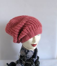Dusty Pink  Beanie Large Beanie Oversized Beanie by recyclingroom, $34.00