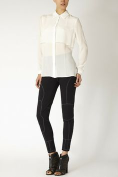 SHEER DOUBLE LAYER SILK BLOUSE by Carrie Parry