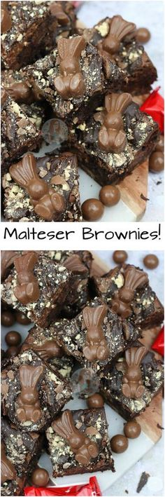 Fudgey, Chocolatey, Gooey Malt Chocolate Brownies with Malteser Spread, Maltesers and Malteser Bunnies, to boot! Brownie Recipes, Cookie Recipes, Dessert Recipes, Delicious Desserts, Yummy Food, Cupcake Cakes, Cupcakes, Easter Treats, Chocolate Brownies