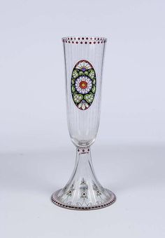 Lovely Art Deco delicate tall Bohemian vase decorated by Johannes Oertel for Haida, 1915-1920