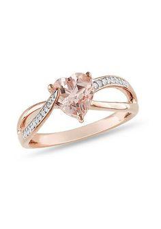Morganite & Diamond Heart Ribbon Ring